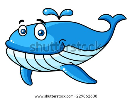 Happy smiling blue cartoon whale character with a water spout, vector illustration isolated on white - stock vector