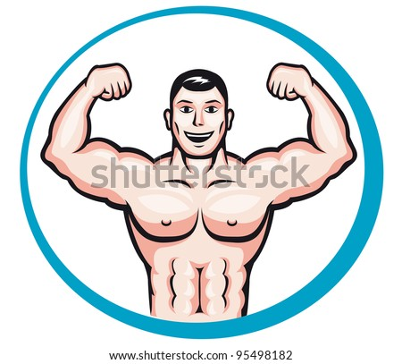 Happy smiling bodybuilder man in cartoon style for sports and health concept design - stock vector