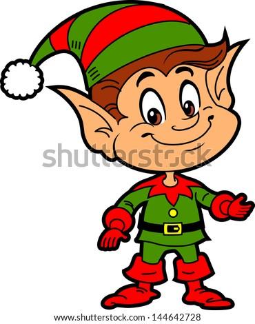 Happy Smiling Boy Christmas Santa's Elf - stock vector