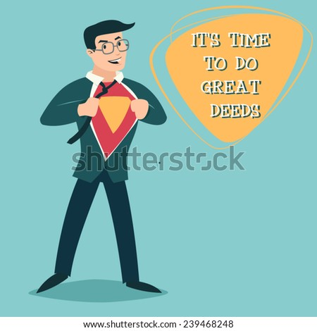 Happy Smiling Businessman Turns in Superhero Suit under Shirt Icon on Stylish Background Retro Cartoon Design Vector Illustration - stock vector