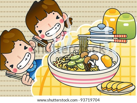 Happy Smiling Cute Young Boy and Lovely Girl with Tasty Spicy Ramen in a snack bar on a background of brown pattern