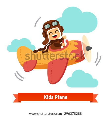 Happy smiling kid flying plane like a real pilot in retro leather flight helmet. Flat style cartoon vector illustration. - stock vector
