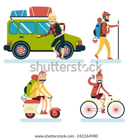 Happy Smiling Man Geek Hipster Character Car Traveler Backpack Scooter Bike Icon Travel Lifestyle Vacation Tourism and Journey Symbol Background Flat Design Template Vector Illustration - stock vector