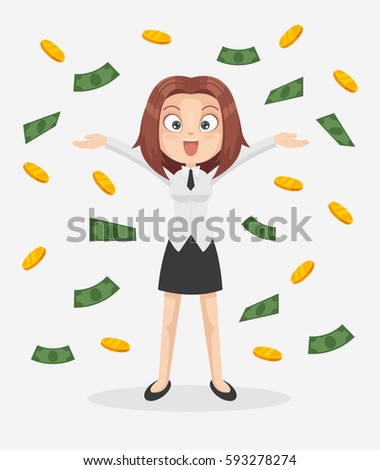 Happy smiling office worker business woman character standing under money rain. Vector flat cartoon illustration