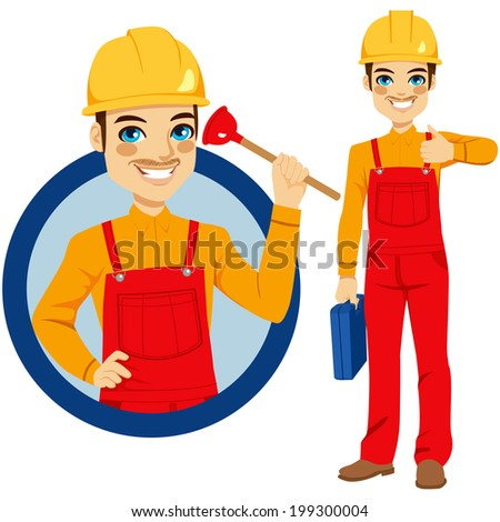 Happy smiling plumber holding plunger wearing red overall uniform holding tool box and making positive expression with thumbs up hand sign - stock vector