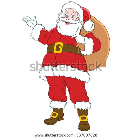 happy smiling Santa Claus with a sack of gifts