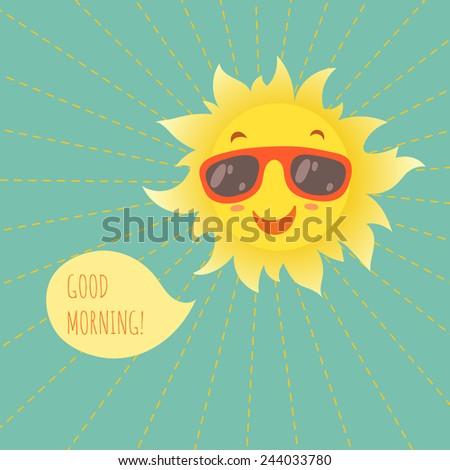 Happy smiling summer sun in glasses. Vector illustration. - stock vector