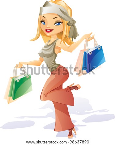 Happy smiling young girl is running with bags. After successful shopping - stock vector