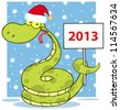 Happy Snake With Santa Hat Holding Up A Blank Sign In Snow. Vector Illustration - stock vector