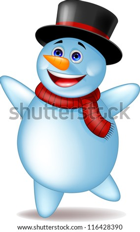 Happy snowman - stock vector