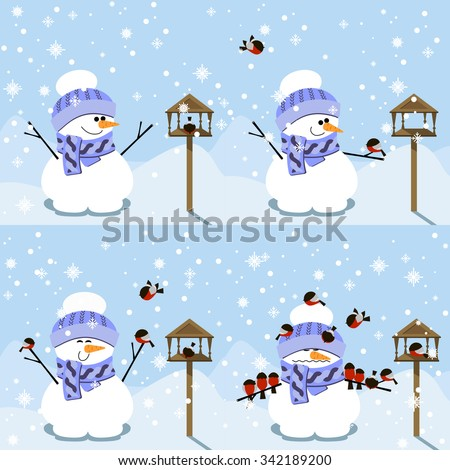 Happy Snowman and funny story with bullfinches. Happy new year vector flat design illustration - stock vector