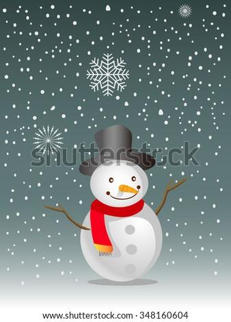 happy snowman background - stock vector