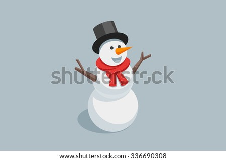 Happy Snowman in black hat and red scarf. Vector illustration Eps 10.