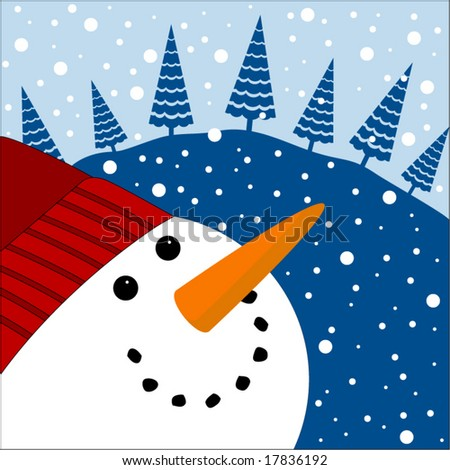 happy snowman looking skyward with trees - stock vector