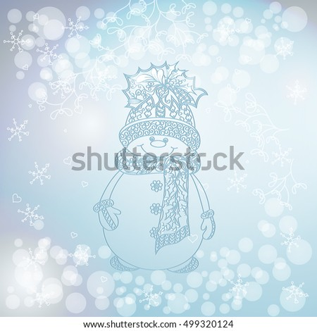 happy snowman on snowfall background