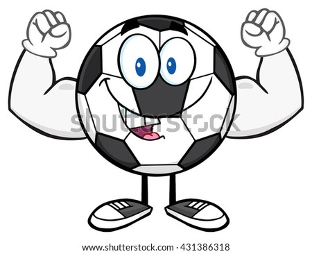 Happy Soccer Ball Cartoon Mascot Character Flexing. Vector Illustration Isolated On White Background - stock vector