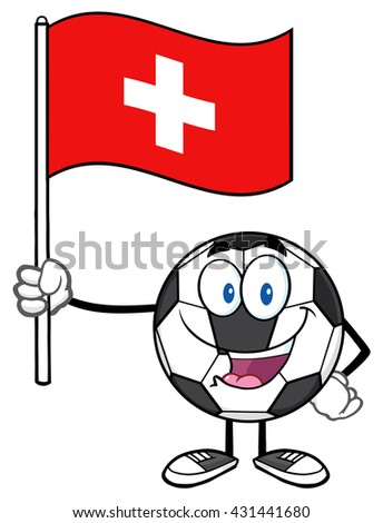 Happy Soccer Ball Cartoon Mascot Character Holding A Flag Of Switzerland. Vector Illustration Isolated On White Background - stock vector