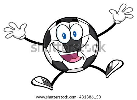 Happy Soccer Ball Cartoon Mascot Character Jumping. Vector Illustration Isolated On White Background - stock vector