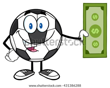 Happy Soccer Ball Mascot Character Holding Cash Money. Vector Illustration Isolated On White Background - stock vector