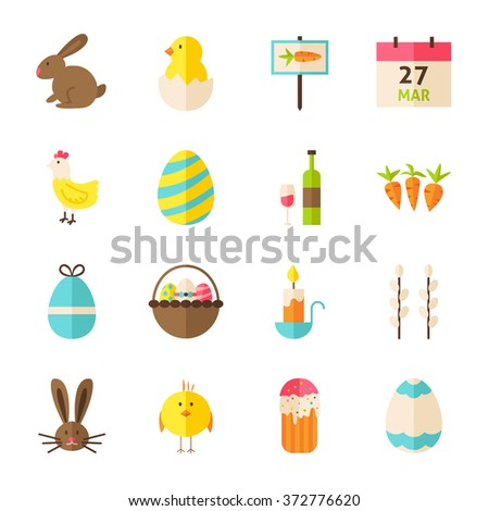 Happy Spring Easter Objects Set isolated over White. Flat Design Vector Illustration. Collection of Season Holiday Items. - stock vector