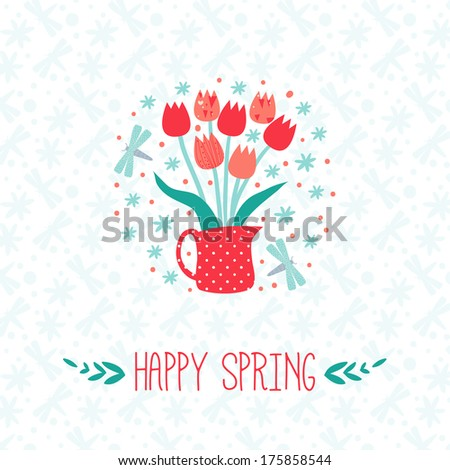 happy spring greeting card with tulip - stock vector