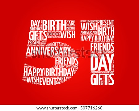 Completely new Happy 51st Birthday Word Cloud Collage Stock Photo (Photo, Vector  BU92