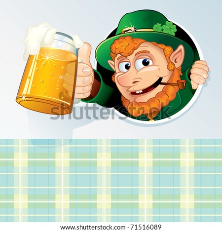 Happy St Patrick's Day Background -  Congratulation Card with Funny Cartoon Leprechaun and space for your text - stock vector