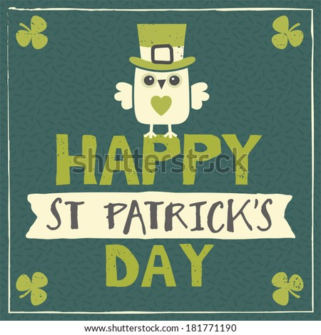 Happy St Patrick's Day card, menu or poster template with cute leprechaun owl sitting on text and ribbon banner. - stock vector