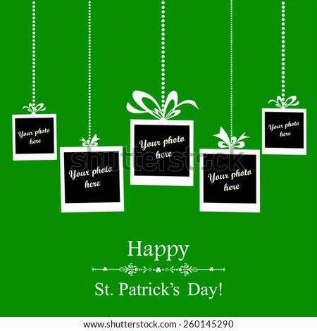 Happy St. Patrick's Day card.  Photo frame. Vector Illustration  - stock vector