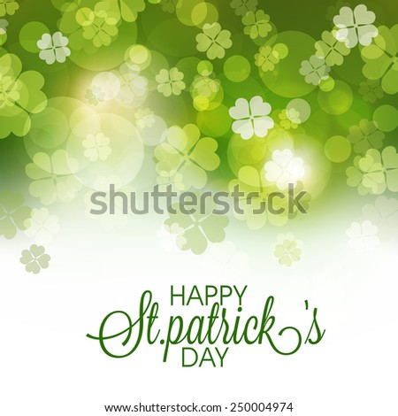 Happy St. Patrick's Day celebration greeting or invitation card decorated by shiny shamrock leaves. - stock vector