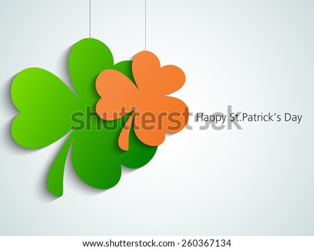 Happy St. Patrick's Day celebration with hanging clover leaves can be used as sticker or tag. - stock vector