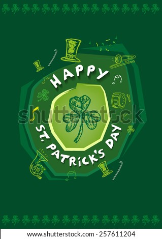 Happy St Patrick's Day Festivity Design Concept with outline art of  objects used in the annual parade like musical instruments and green hat. Editable Vector EPS10 and jpg.  - stock vector