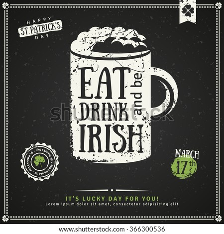 irish menu templates - happy st patricks day greeting card stock vector 366300536