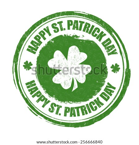 Happy St. Patrick's Day grunge rubber stamp on white background, vector illustration - stock vector