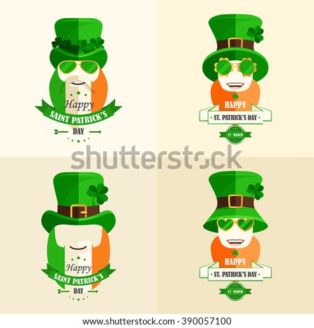 Happy St. Patrick's Day. Isolated set vector cartoon characters Irishmen green hat with shamrocks, beard red color or flag of Ireland, smile, lettering green ribbon flat style  beige background - stock vector