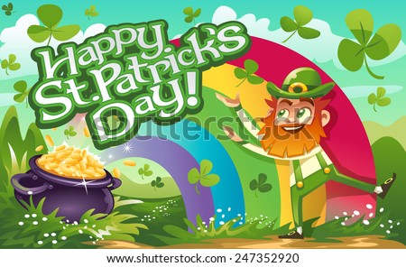 Happy St Patrick's Day Leprechaun and Background - stock vector