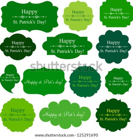 Happy St. Patrick's Day! Set Retro green Tag. Vector Illustration - stock vector