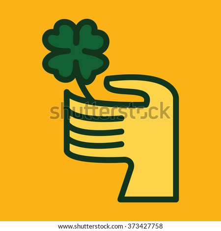 Happy St Patricks Day. Hand Holding a Four Leaf Clover - Vector Illustration - stock vector
