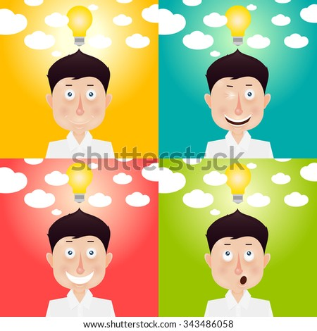 Happy stick man with idea. Mood and emotional state. - stock vector