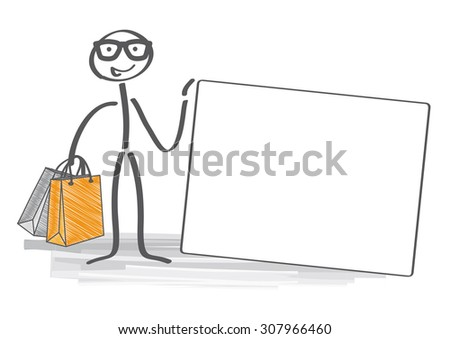 Happy Stick man with shopping bags holding a credit card  - stock vector