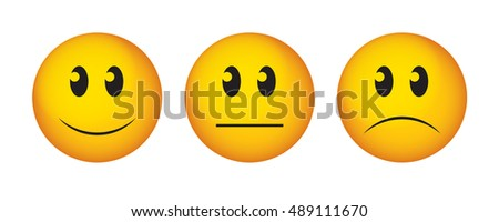Happy, straight face and sad emoticon. Buttons to vote on survey.