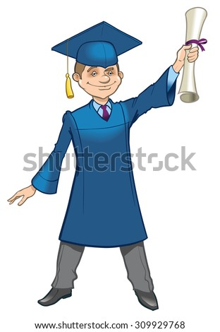 Happy student in graduation day. - stock vector