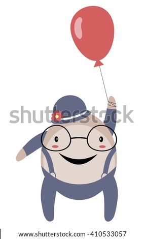 Happy stylized spectacled man with balloon isolated on white background