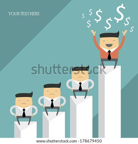 Happy successful businessman on top of the chart. Group of businessmen, cartoon characters. Vector illustration. - stock vector