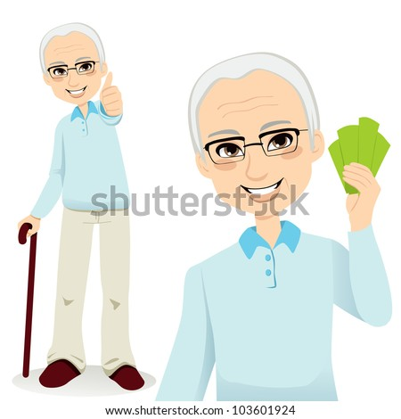 Happy successful senior man holding money fan and making thumbs up sign - stock vector