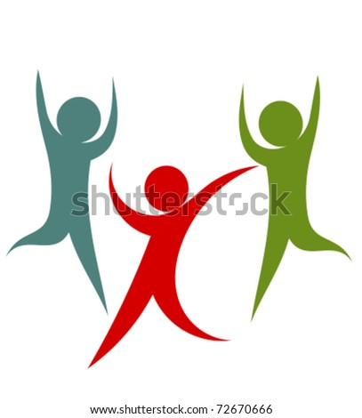 Happy successful team of people. Vector illustration - stock vector
