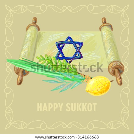 Happy Sukkot four symbols and torah of Jewish holiday. Sukkot species - etrog, willow, palm, myrtle vector illustration - stock vector
