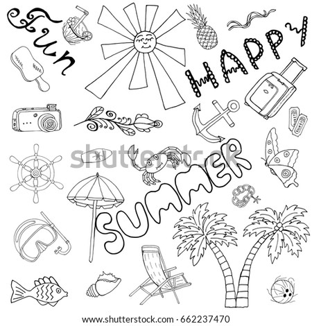 Happy Summer Fun Hand Drawn Set Stock Photo Photo Vector