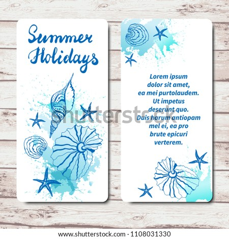 Happy Summer Holidays Vacation Template Greeting Cards Or Flyers With Seashells Sea