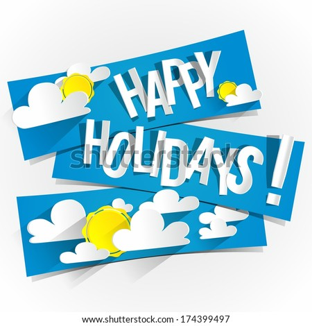 Happy Summer Holidays With Sun And Clouds On Blue Banners vector illustration